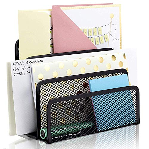 3 * compartimentos Organizador de escritorio revistero revistas, Malla Metálica - Caja de almacenaje (módulo de clase carpeta soporte Document correo - Organizador de almacenaje