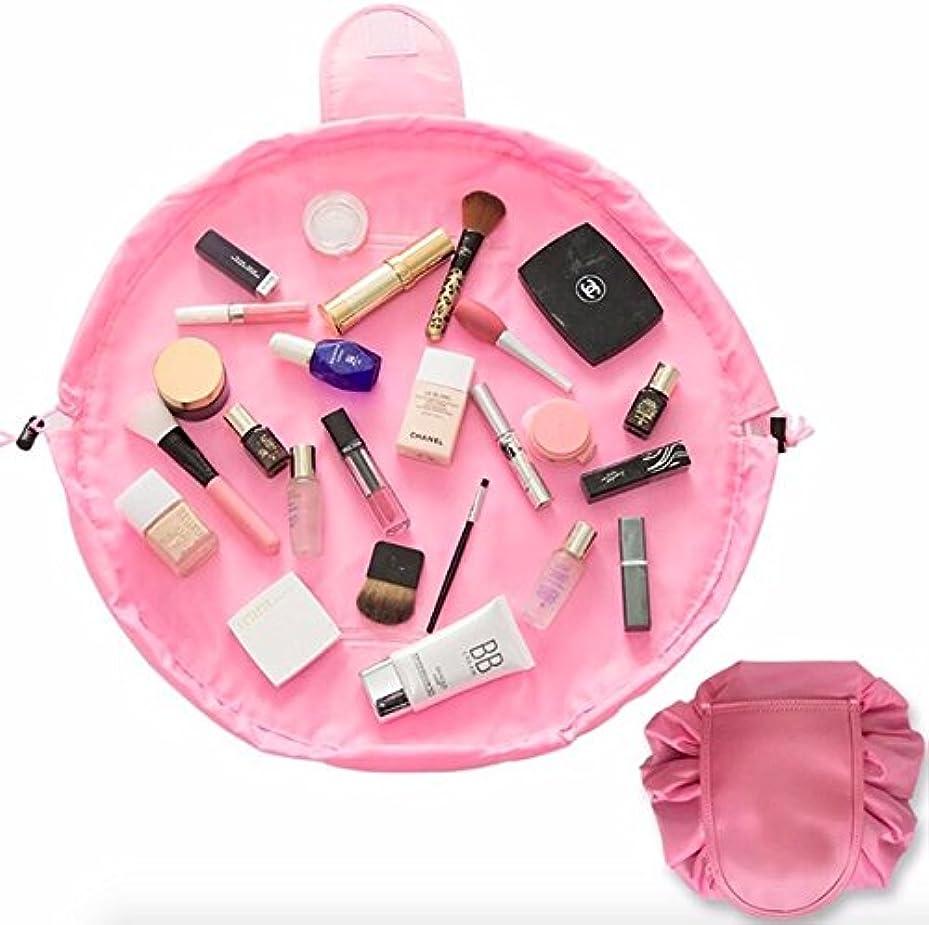 フェローシップアジア人する必要がある大容量 防水化粧品収納バッグ 折り畳み 外泊 出張 持ち運び旅行収納 (ピンク)