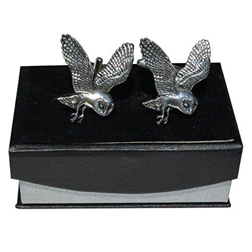 Boutons de Manchette Chouette Volante en Etain Fin, Fabrication Francaise