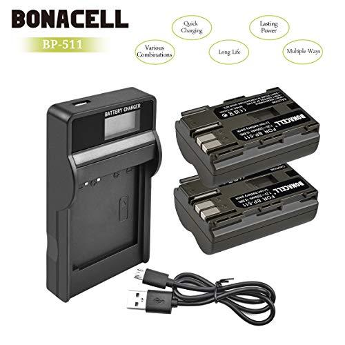 Bonacell 2X 2200mAh Ersatzakku für Canon BP-511 mit LCD Ladegerät Set | Kompatibel mit Canon EOS 10D, 20D, 20Da, 30D, 40D, 50D, 5D, D30, D60/PowerShot G1, G2, G3, G5, G6