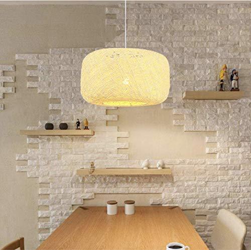 Lámpara colgante de ratán tejida a mano Lámpara de techo de lino de ratán Lámpara de techo con pantalla de nido de pájaro para restaurante, cafetería, dormitorio,30 cm / 12 pulgadas