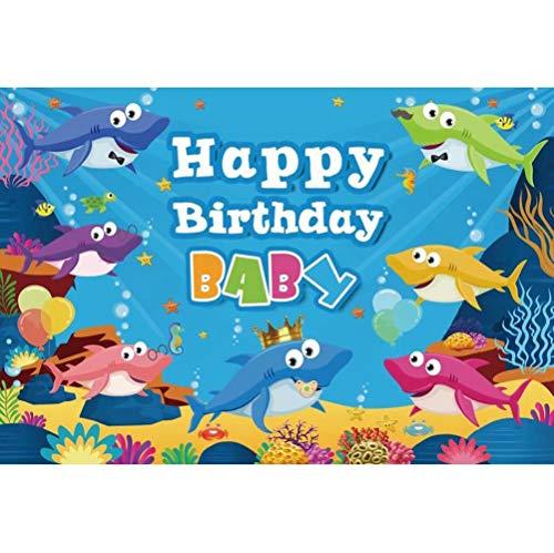 Cassisy 2,2x1,5m Vinilo Telon de Fondo Feliz cumpleaños Baby Shark Group Undersea World Scene Fondos para Fotografia Party bebé Infantil Photo Studio Props Photo Booth