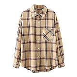 Wave166 Camisa a cuadros para mujer, de gran tamaño, con estampado de cuadros, estilo urbano, caqui, L