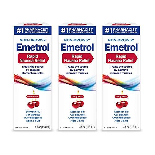 Emetrol Nausea & Upset Stomach Relief Liquid Medication, Cherry - 4 oz Bottle, 3 Count