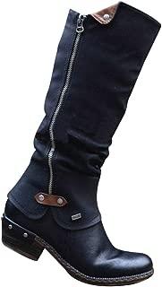 Glomiss Women Western Cowboy Knee Boots Punk Boots Low Thick Heel Side Zippper Booties