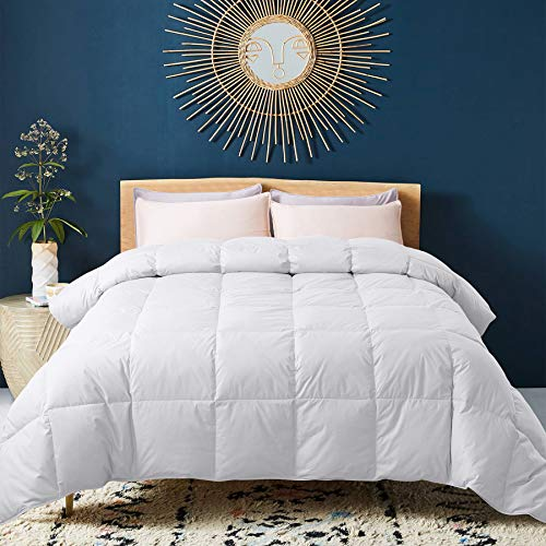 WhatsBedding 100% Cotton Down Comforter White Goose Duck Down and Feather Filling All Season Duvet Insert or Stand-Alone Comforter (King)