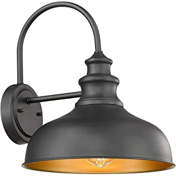 Bestshared Farmhouse Gooseneck Barn Light, Outdoor Wall Sconce, 1-Light Outdoor Black FinishLantern for Porch with Contrast Color Interior
