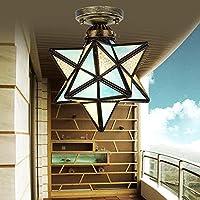 地中海の創造的な風産業五角形の星天井ランプポーチ通路廊下バルコニーライトホームランプ YANG1MN (Color : ライトブルー)