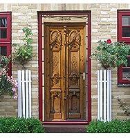 ドアウォールステッカーDIY3D刻まれた木製ドアステッカーPVC粘着壁紙ホームドア装飾壁画ウォールステッカーシミュレーションポスター-77cm(W)* 200cm(H)