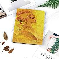 IPad Air2 ケース 軽量 薄型 オートスリープ スタンド機能 ー PUレザー 傷つけ防止 プ iPad Air2専用(モデル番号A1566 A1794)スマートカバーエジプトの女王の肖像画とアンティーク古紙ピラミッドラクダ画像印刷