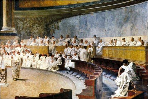 Posterlounge Cuadro de Madera 130 x 90 cm: Cicero denouncing Catiline de Cesare Maccari/Everett Collection