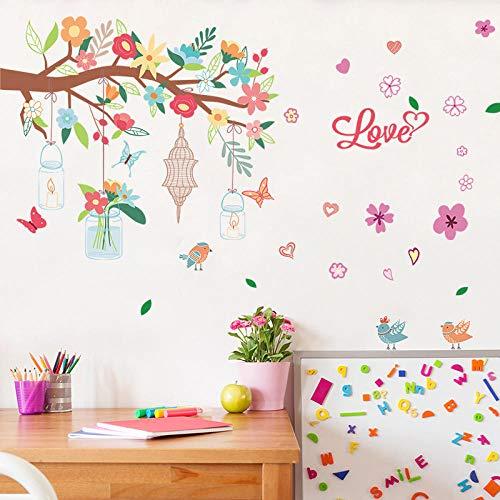 Muursticker creatieve kunstbloemen takken letters vlinder waterdicht knutselen muursticker kinderkamer sticker kleuterschool decoratie