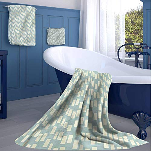 HOMEDECORATIONS Modern Quick Dry Bath Towel Big Small Squares Tile Nice Plush Quality washcloths for Best Friends