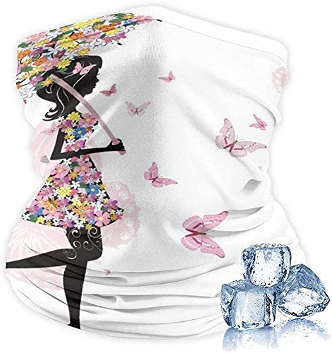 vipsung Unisex Half Face Cover Reusable Adjustable Breathable Cover Adult-Dust Warm Bandana Neck Gaiter -Butterfly Black Girl with Floral Umbrella-One Size