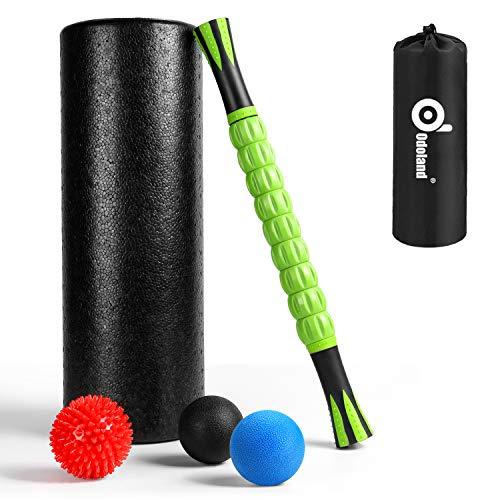 Odoland Faszienrolle Set 6 IN 1 Faszien Roller Fitness mit Foam Roller Massageroller Massagebälle für Faszientraining von Muskeln und Entlastung Muskelkate