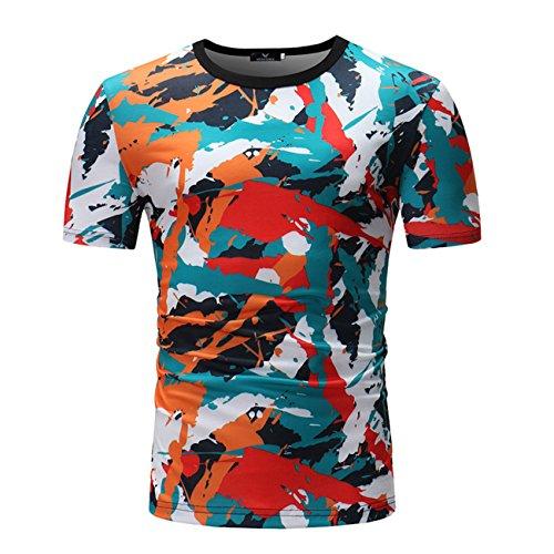 Herren Painted Design Rundkragen Freizeit Kurzarm T-Shirt(XXL,bunt)