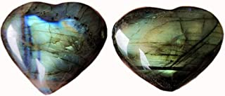 Gemgogo 2 Pcs Natural Labradorite Irregular Carved Heart Love Palm Crystals and Healing Stones Room Decor(1.49-1.8 inchs)