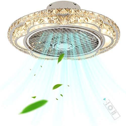 DLGGO Ventilador de techo con la lámpara de la lámpara de la sala, moderna lujosa Ventilador de techo de cristal LEDDimmable Luz, 3 Velocidad Quiet Flush invisible ventilador de la lámpara Ventilador