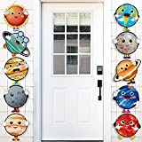 OSNIE 10Pcs Planets Theme Party Decor Supplies Outer Space Cardboard Cutout Door Porch Banner Wall Decor Blue Solar System Party Favors Photo Booth Prop for Kids Boys Space Birthday Party Decorations