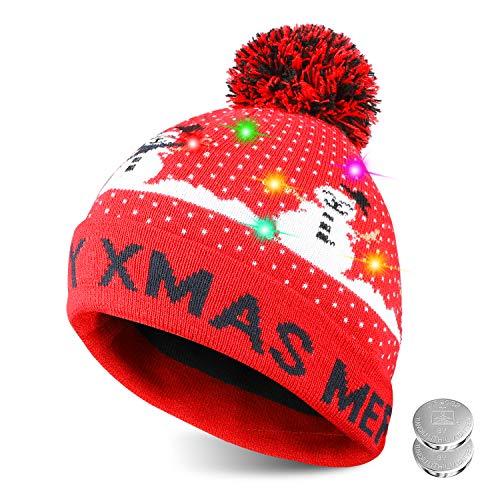 TAGVO Sombrero LED Light Up Sombrero Beanie Gorro, 6 Sombrero Colorido LED Christmas Christmas Hat, Sombrero de Sombrero de Nieve Invernal Sombrero Feo Sombrero Beanie Cap