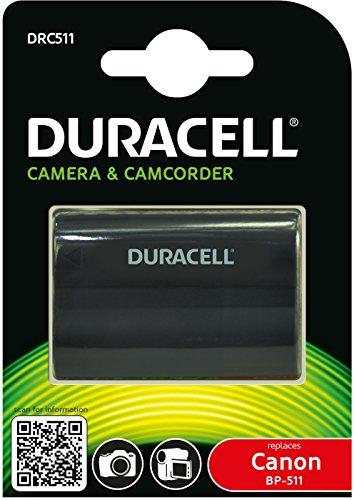 Duracell DRC511 Batteria per Canon BP-508/BP-511/BP-512/BP-514/BP-522/BP-535, 7.4V, 1600 mAh, Nero