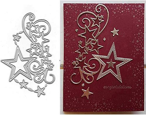 Star Cluster Edge Metal Die Cuts, Merry Christmas Snowflake Stars Border Flower Strip Cutting Dies Cut Stencils for DIY Scrapbooking Album Decorative Embossing Paper Dies Card Making