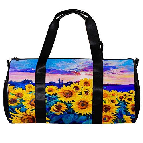 TIZORAX Bolsa de lona para mujeres hombres girasol moderno impresionismo pintura al óleo deportes gimnasio bolsa de mano fin de semana noche bolsa de viaje al aire libre equipaje bolso
