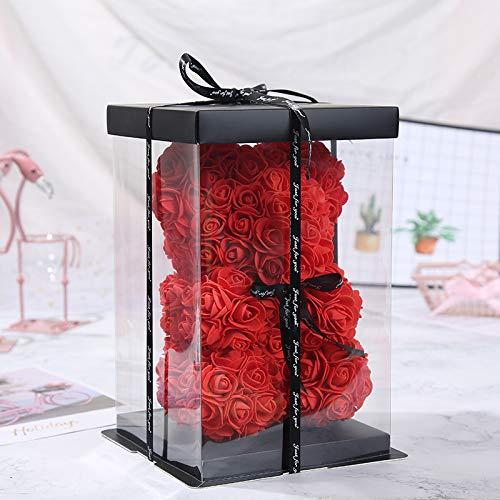 SUPERMOLON Oso Rosas Foam 25cm con Caja de Regalo Original - Rose Bear Oso de Rosas Artificiales - Regalo San Valentín, Enamorados, Aniversario, Amor - Entrega en 24h (Rojo)
