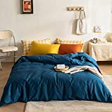 mixinni Modern Style Solid Color Blue Duvet Cover 3 Pieces Cotton Bedding Duvet Cover Set for Women and Men 1 Duvet Cover with 2 Yellow/Orange Pillowcases Queen Size