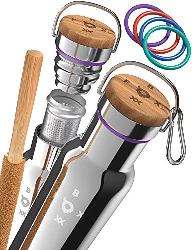 FOXBOXX® Trinkflaschen SET isoliert / Edelstahl Premium / TEE-Sieb + BIO-Bürste + Dichtungen [5 Farben] + Edelstahl Karabiner + GRATIS > BAG /Isolierflasche Kinder & Erwachsene (500ml, glänzend)