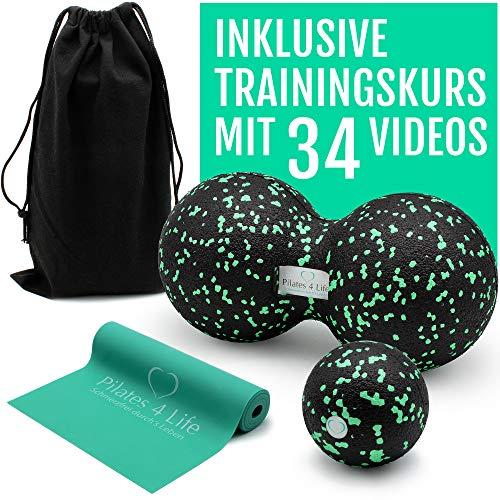 Pilates 4 Life Premium Faszien Set - inkl. Videokurs für Einsteiger - hochwertiger Faszienball, Duoball & Fitnessband aus 100% Naturkautschuk