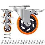 D&L 4 Inch Plate Casters Wheels 1800lbs Heavy Duty...