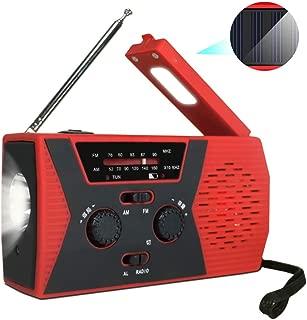 ソーラーおよびハンドジェネレーター付き緊急ラジオ、AM/FM付き家庭用および屋外緊急用バッテリー駆動ラジオ、LED懐中電灯、読書灯、電源銀行USB充電器およびSOSアラームBATIIYA