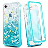 Ruky iPhone 6 6s 7 8 Case, iPhone SE 2020 Case, Clear Full Body Glitter Liquid Floral Cover with Built-in Screen Protector Shockproof Girls Women Phone Case for iPhone 6/6s/7/8/SE 2020, Flower Bouquet