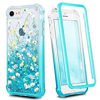Ruky iPhone 6 6s 7 8 Case iPhone SE 2020 Case Clear Full Body Glitter Liquid Floral Cover with Built-in Screen Protector Shockproof Girls Women Phone Case for iPhone 6/6s/7/8/SE 2020 Flower Bouquet