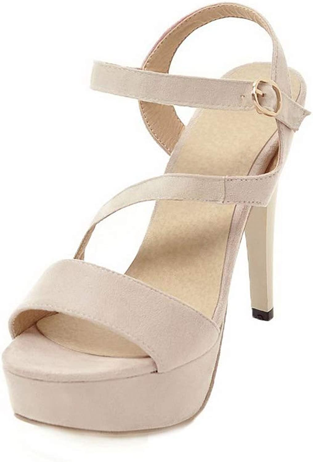 WeenFashion Women's Solid Frosted High-Heels Open-Toe Buckle Sandals, AMGLX010092