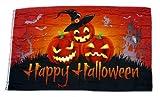 Fahne/Flagge Happy Halloween Kürbisse Hut 90 x 150 cm