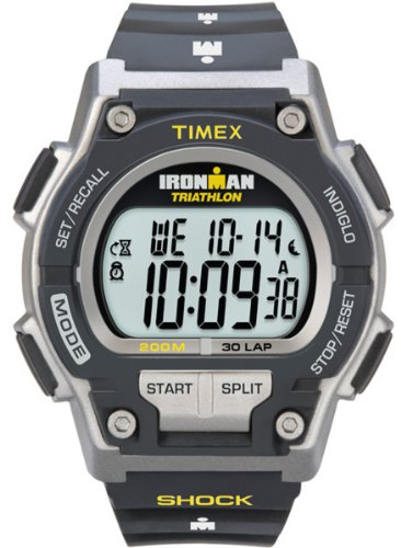 Timex T5K1959J - Reloj digital con correa de resina para hombre, color gris/negro