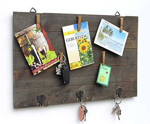 DanDiBo Memoboard Holz Wäscheklammern Fotoboard 93667 Pinnwand Vintage Memowand