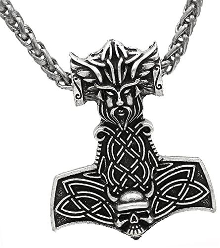 HKOEBST Collar con Colgante De Calavera De Martillo Vikingo Nórdico Thor para Hombre De Moda,Cadena De Orquídea De Flor De Plata Antigua,Antiquesilverflowerorchidchain