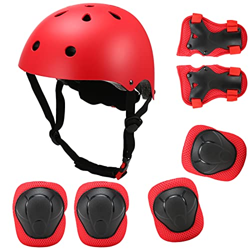 Kids 7 in 1 Helmet and Pads Set Adjustable Kids Knee Pads Elbow Pads Wrist Guards for Scooter Skateboard Roller Skating Cycling