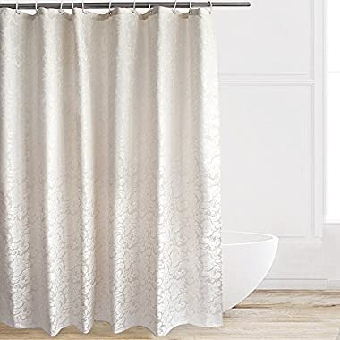 Eforcurtain Classic Paisley Pattern Heavy Duty Water Repellent Bath Curtains Mildew Proof Antibacterial, Stall X-Long Polyester Fabric Bathroom Curtain Decoration with Hooks 54 x 78 Inch, Ivory