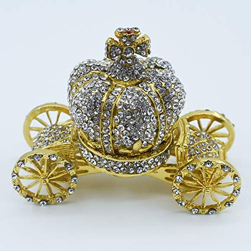LUCY STORE Metal Gifts Diamond Jewelry Box European Luxury Diamond Crown Pumpkin Car Gift Creative Home Furnishing 8 4 7CM