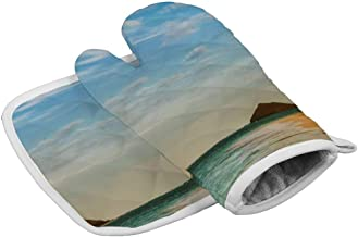 UKSILYHEART Oven Mitts and Pot Holder Or Oven Gloves Insulation Gloves Catamaran On A Beautiful Beach Heat-Resistant Kitchen Set