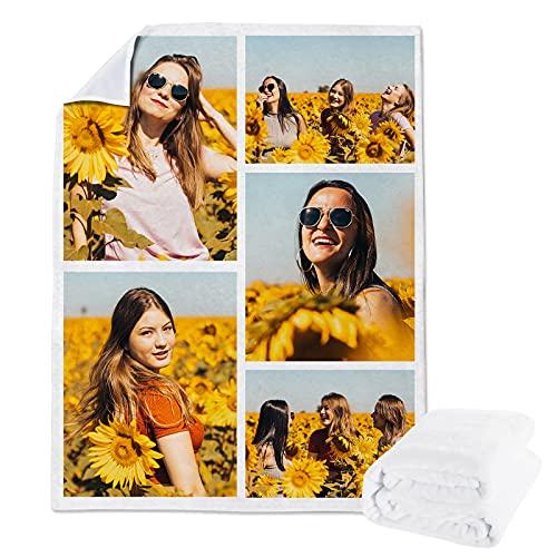Manta de vellón Personalizada a Partir un Collage Fotos para niños o Adultos, Mantas Franela Personalizadas Mascotas con Foto y niñas, Regalo cumpleaños la Familia(100x150cm)