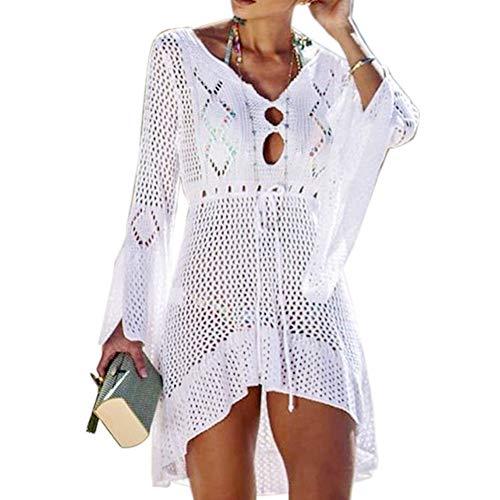 Tacobear Gestrickte Strandkleid Damen Sexy Bikini Cover Up Strandponcho Sommerkleid Sommer Bademode Strand Pareo für Damen (Weiß)