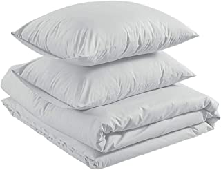 AmazonBasics Organic Percale Duvet Comforter Cover Set, Full / Queen, Soft Grey