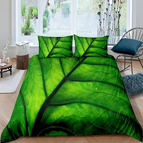 Juego de ropa de cama Green Leaves con diseño de hoja de vena, funda de edredón para niños, niños, niñas, adolescentes, funda de edredón natural, decoración de dormitorio con 155 x 220 cm