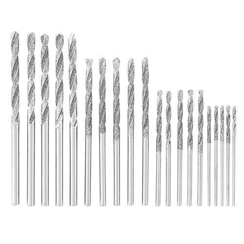 1-2,5 mm Diamant-Spiralbohrer Schnellarbeitsstahl-Spiralbohrer-Set mit Schmirgel für Jobs 20 STÜCKE