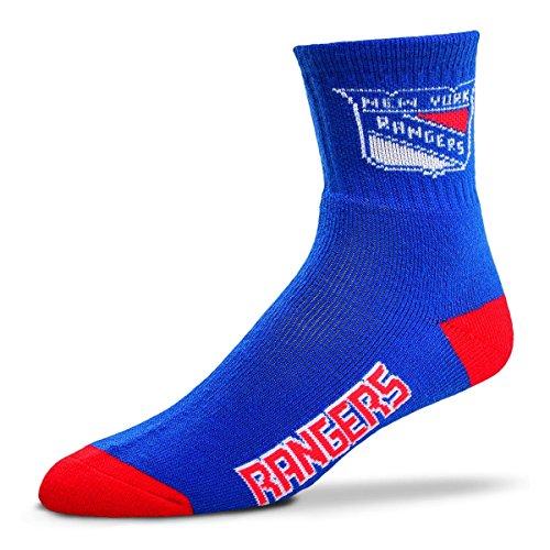 For Bare Feet Men's NHL Quarter Socks-New York Rangers-Large(10-13)